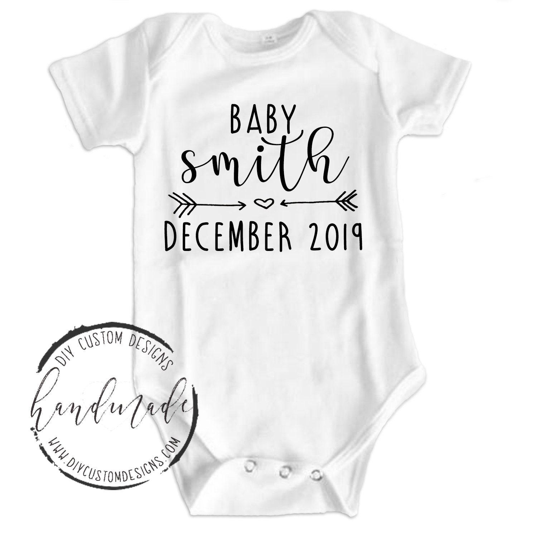 cc94541fa Baby Announcement Onesies®, Pregnancy Reveal, Pregnancy Announcement, Personalized  Baby Last Name Announcement Bodysuit