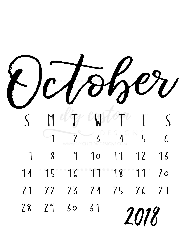 October Calendar 2018 Printable : October calendar printable akba greenw