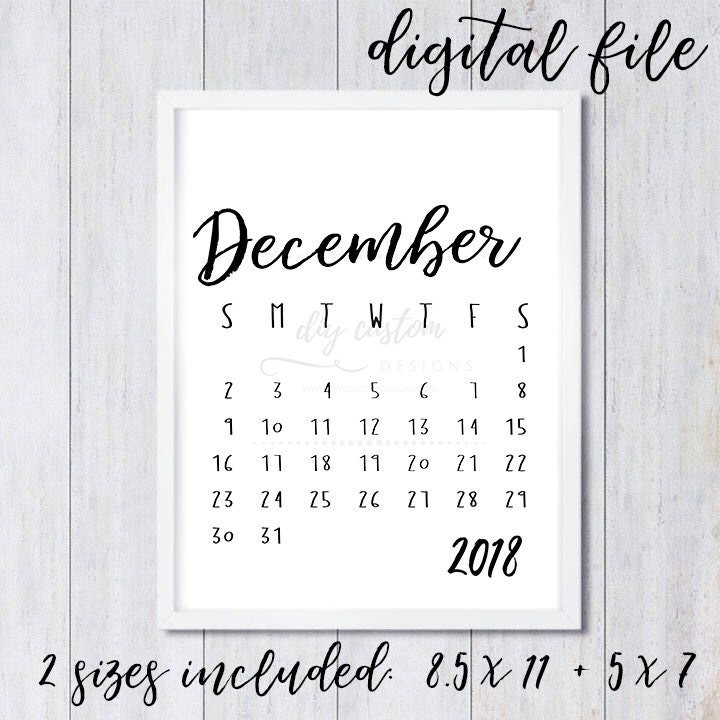 December 2018 Printable Calendar Birth Announcement Ideas Digital
