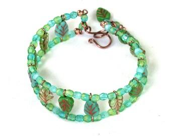 Kit Green Leaf Bead Ladder Czech glass beaded bracelet. Finished bracelet or kit, or kit w/ wirework tech guide.