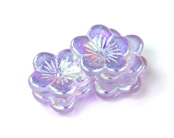 Pink Alexandrite Lilac w/ AB transparent glass 16mm center drilled flat flowers. Set of 6, 12 or 18.