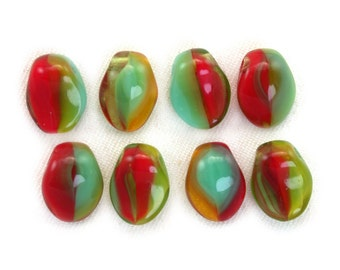 Red Turquoise Green opaque Amber transparent 6 x 8mm petal. Set of 25 or 50.