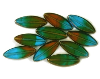 Amber Capri Green transparent Bronze edges 18 x 7mm oval spindle beads. Set of 5 or 10.