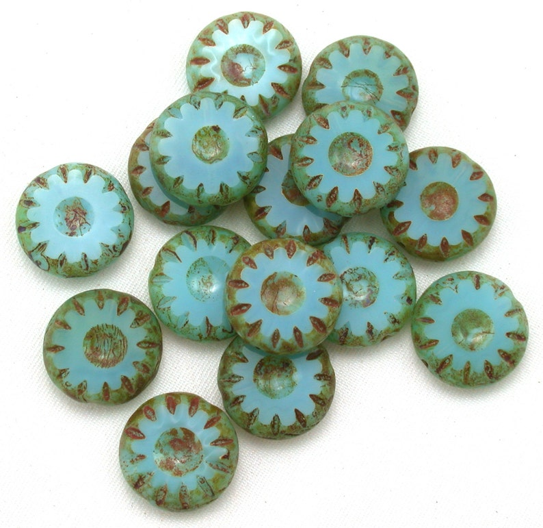 Turquoise opaline w/ picasso 14mm carved wheels. Set of 8 or image 0