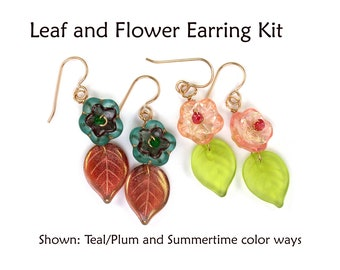 Leaf and Flower Earring Kit. Materials w/ wirework tutorial guide.