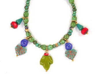 """KIT Turquoise w/ picasso Red Green Blue opaque Czech glass beaded 16"""" Charm necklace. Finished necklace or kit."""