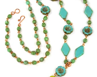 """Turquoise Chartreuse Czech glass beaded 33"""" long Hibiscus necklace. Finished necklace or kit, or kit w/ wirework guide."""
