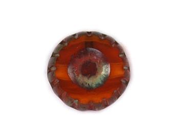 Red transparent Orange opaque w/ Brown picasso medium 12mm wheel bead. Set of 6 or 12.