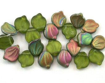 Olive Green transparent matte w/ Red Gold metallic finish 12 x 15mm petals. Set of 10, 20 or 40.
