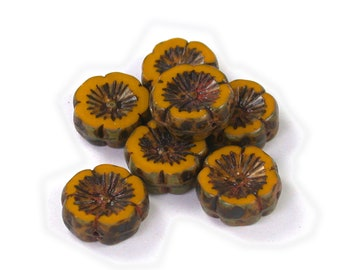 Spicy Mustard opaque w/ Golden Brown picasso Red decor 14mm Hawaiian flower links with detailed design. Set of 10.