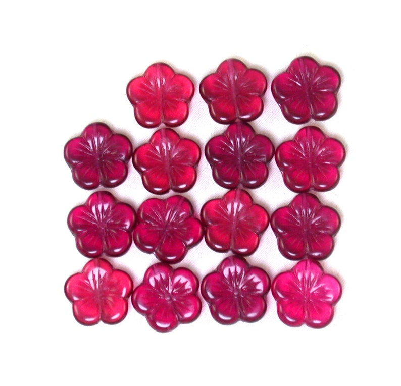 Fuchsia Pink transparent 14mm flat flowers 8 Set of 7 or 15.