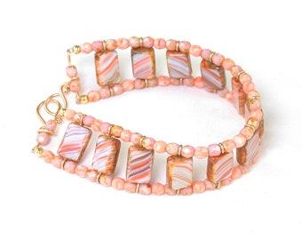 Blush Rose Tile Bead Ladder Czech glass beaded bracelet. Finished bracelet or kit, or kit w/ wirework tech guide.
