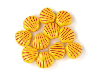 Yellow opaque Red incised decor 9mm scallop shell bead. Set of 12, 25 or 50.