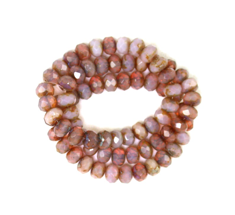 Blush Brown Sherry opaline glass w/picasso 6 x 9mm rondelles. image 0