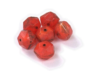 Red Orange semitransparent w/Brown picasso 10mm pressed glass English cut beads. Set of 10 or 15.