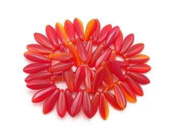 Red Yellow Orange opal 16 x 5mm medium size daggers. Set of 50.