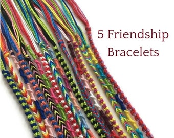 5 String Bracelets, Colourful Friendship Bracelets, Friendship Bracelet Set, Woven Bracelets, Thread Bracelets, Friendship String Bracelets