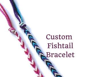 String Bracelet, Friendship Bracelet, Custom Fishtail Bracelet, Braided Bracelet, Woven Bracelet, Thread Bracelet, Best Friend Bracelet