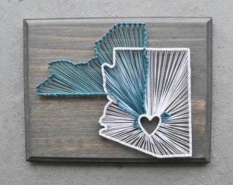 State String Art, Two State String Art, Home Decor, College Gift, Home Sweet Home, New Home Gift, Wedding Gift, Housewarming Gift