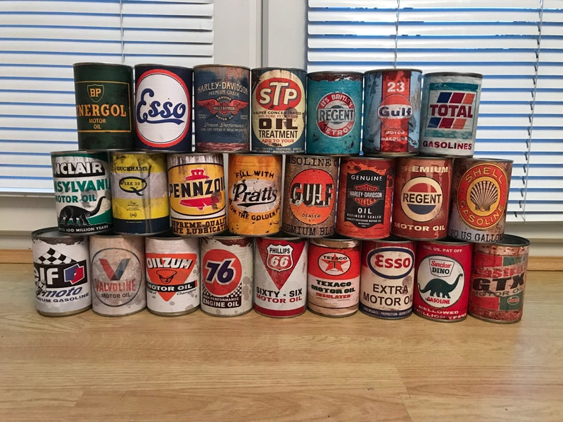 Motor oil tin cans Rustic Petrol Motoring old Can Replica Rusty vintage  Rust Petroleum display prop collectables garage man cave decor