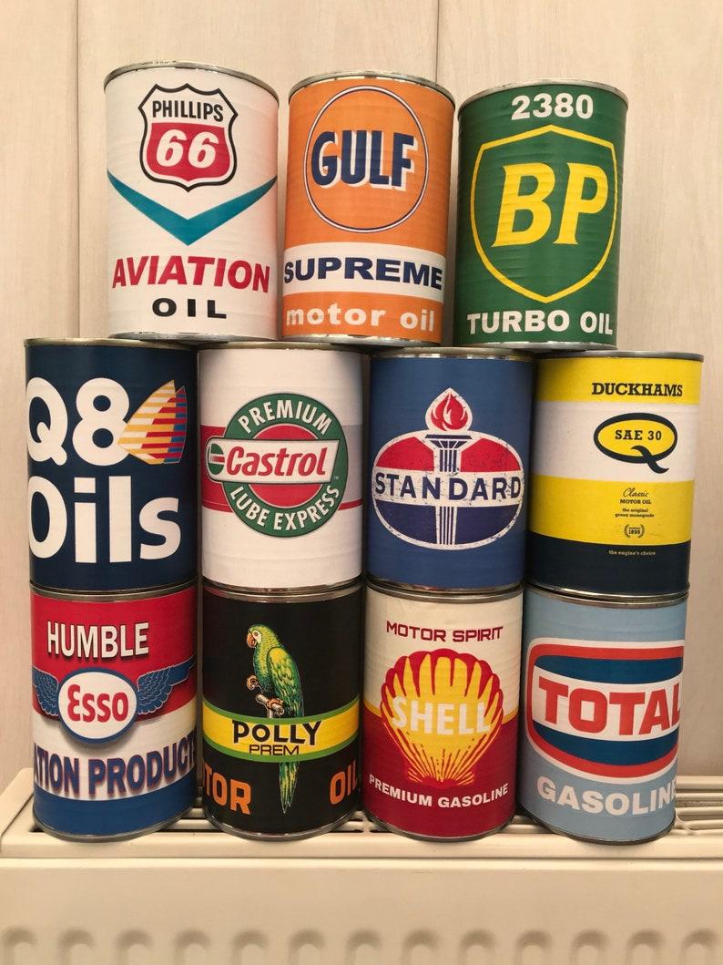 Old vintage motor oil cans Rustic Petrol Motoring Tin Can Replica Rusty  Rust Petroleum display prop storage props garage man cave decor
