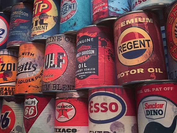 Service Station Automotive Memorabilia Retro Workshop Movie Prop Mancave 2 Vintage Oil Cans Fathers Day