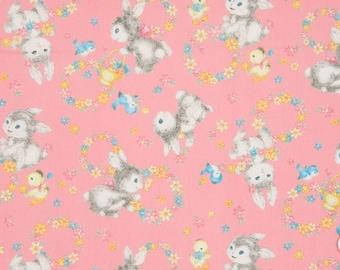 Quiltgate Dear Little World Bunnies Pink (Half metre)