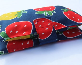 Nappy & Wipes Wallet Clutch Navy with Large Strawberries