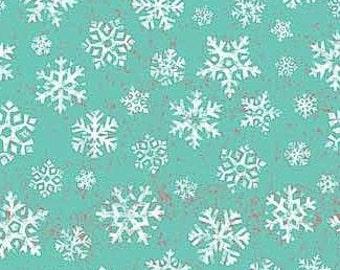 SPX Fabrics Owl Be Home for Xmas Snowflakes Aqua (Half metre)