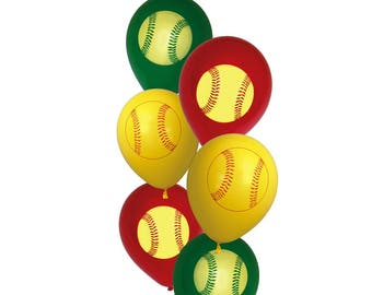 softball balloons, fastpitch party decorations, 6CT, graduation, girls sports, players, team party, teens birthday ideas, senior night