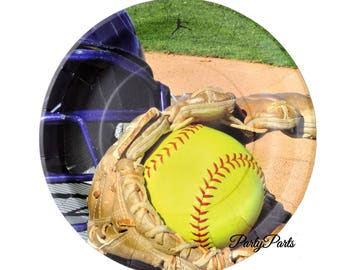 softball party plates, fastpitch graduation decor, team party, 9 inches, 8CT sports decorations, teen birthday ideas, sweet 16, girls