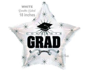 white graduation balloon, congrats grad star, black cap, starbursts, class of 2018 graduates, party decorations, celebration, celebrate