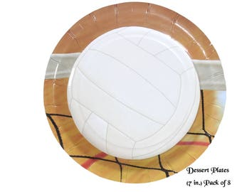 volleyball party dessert plates, graduation decorations, sports player birthday party supplies, volleyballs, net, team party, athletic