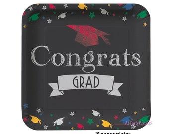 Congrats Grad Plates, Grad caps, graduation party decorations, chalkboard look, congratulations class of 2018, graduates, paper tableware
