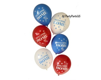 Welcome Home balloons, patriotic decorations, military homecoming party, deployment return, welcome home, red white and blue, veterans, hero