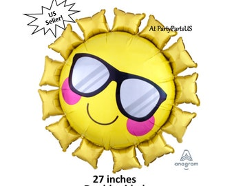 sun balloon with sunglasses, summer party decorations, beach wedding, pool, childrens birthday, camp, parade, 4th of July, barbecue, bbq