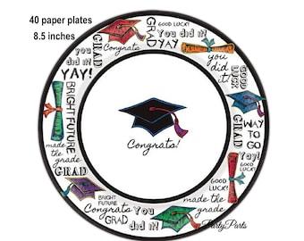 graduation plates jumbo package, large party pack, multicolor grad caps, class of 2018, graduating, graduates, diplomas, tableware, paper
