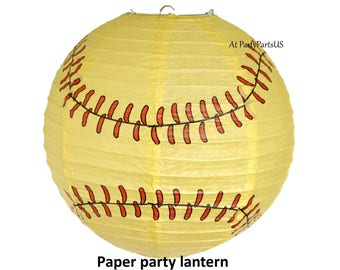 softball party lantern, paper hanging decoration, sports party supplies, graduation decorations, girls birthday ideas, fastpitch, player
