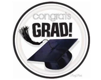 white graduation plates, congrats grad plates, black cap, tassel, paper tableware, party decorations, class of 2018, graduates, unisex