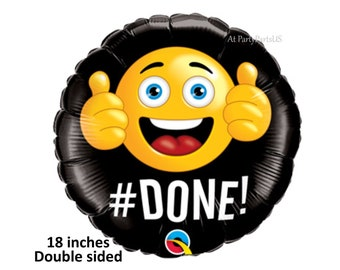 emoji graduation balloon, hashtag done, thumbs up, class of 2018, graduation party decorations, retirement, black, congrats grad, way to go