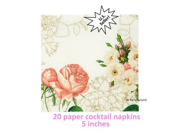 elegant floral cocktail napkins bridal shower beverage napkins tea party decorations formal tableware wedding cake table baby womens