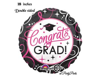 pink and black graduation balloon, congrats grad party decoration, class of 2018, graduate, hot pink, grad cap, congratulations, girls ideas