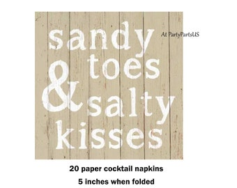 sandy toes & salty kisses cocktail napkins, beach wedding beverage napkins, summer wedding decor, pool party supplies, tropical vacation