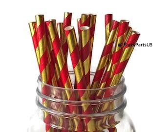 red and gold straws, 40th birthday party decorations, ruby, nurse graduation, nursing school grad, gold foil, birthday, striped bar supplies