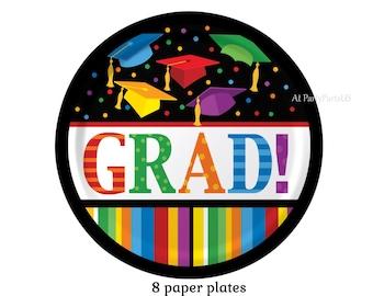 grad caps graduation plates, rainbow, multicolor, party decorations, dessert plates, unisex, nursing school, high school, class of 2018