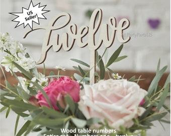 script wooden table numbers, cursive table numbers, wedding decorations, wood centerpieces, handwriting, retirement event, formal, elegant