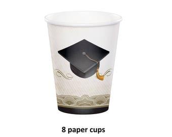 graduation cap cups, elegant graduation party decorations, 9 oz paper cups, 9 ounces, gold tassel, grad cap, black and gold, white