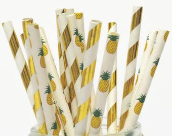 Gold Pineapple Straws Mix, Pineapples Party Decorations, Luau, Tropical Wedding, Bridal Shower, Gold Foil, Metallic, 10CT, summer fruit