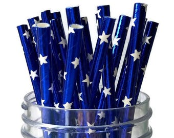 blue star straws, patriotic party decorations, 10CT, white stars, blue and white party supplies, foil straws, Americana, American flag