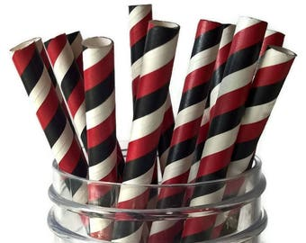 red black and white straws, school colors, graduation party, 16CT, team spirit, supplies, wide, smoothie, paper, sports, decorations, drink